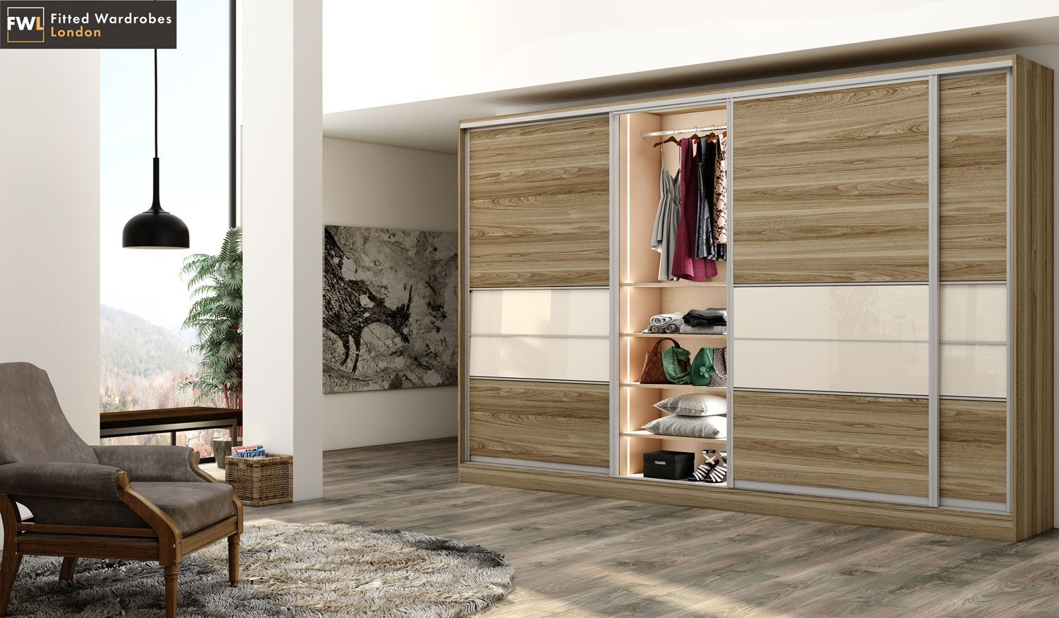 sliding wardrobes with light