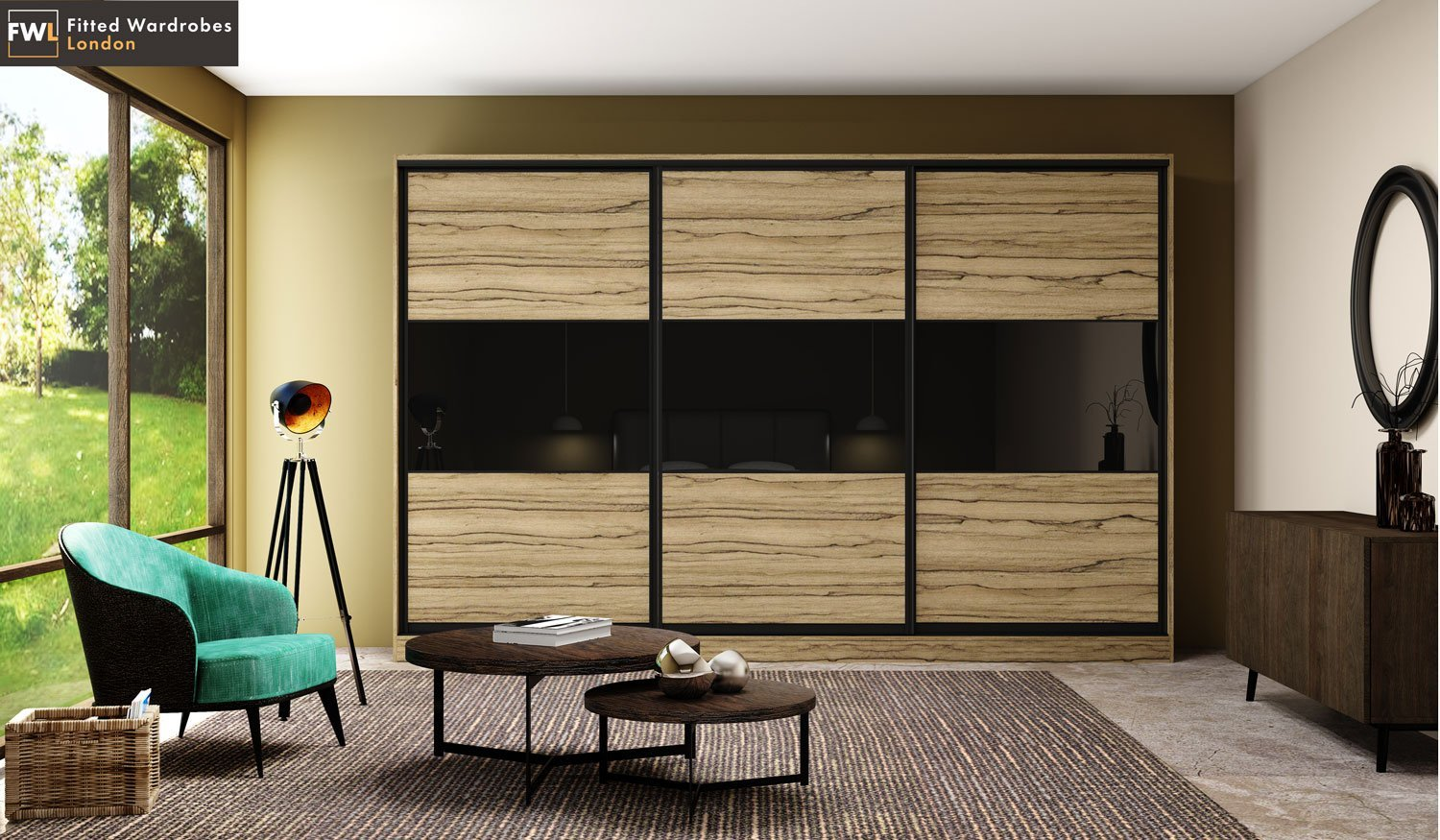 Sliding door wardrobes with black gloss